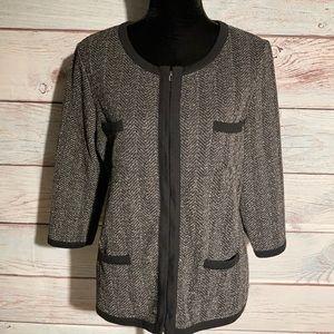 Lg Liz Claiborne herringbone black zipper jacket